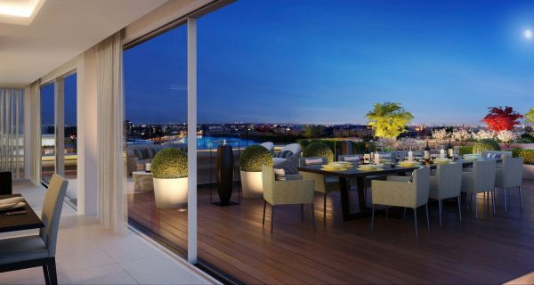 CGI Exterior of Terrace Dining Area at Block A Penthouse, Fulham Reach Development